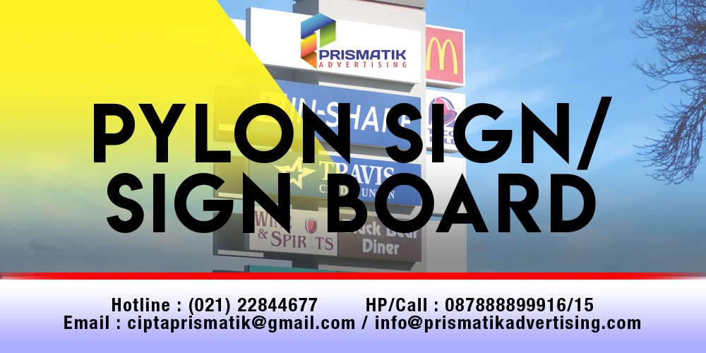 Jasa Pemasangan Pylon Sign Vynil LED